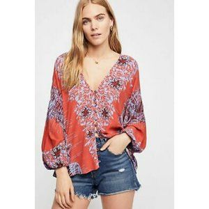 FP Orange and Blue Birds of a Feather Blouse